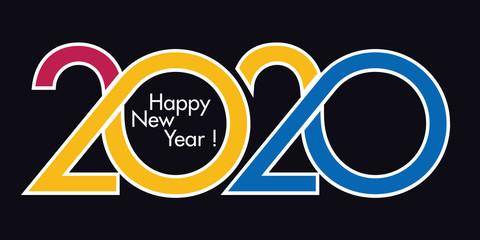 Carte de vœux au graphisme original pour présenter l'année 2020. Elle montre une succession de courbes dans un dégradé de couleurs rouge et jaune sur fond noir.