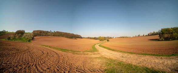Agricultural plowed field in spring Fotoväggar