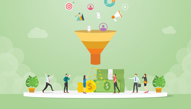 lead management strategy business concept with marketing sales funnel team people - vector