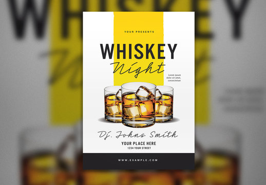 Whisky Night Flyer Layout with Yellow Accents