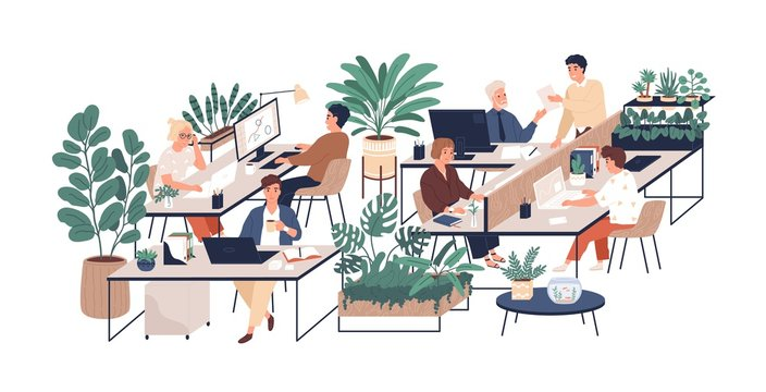 Green office flat vector illustration. Company staff, co-workers male and female cartoon characters. Comfortable workplace. Office coziness, domestic atmosphere, corporate environment.
