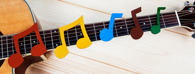 Music and guitar panorama - musical notes on guitar fretboard for music concepts, playing guitar...