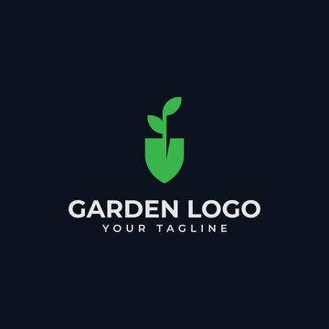 Shovel and Leaf, Garden, Botany, Nature, Seed, Plant Logo Design