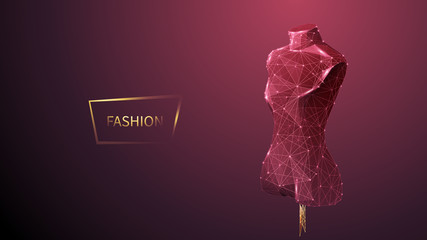 Fashion low poly wireframe vector banner template. Polygonal 3D mannequin. Clothes designer workshop, dressmaker atelier mesh art illustration. Fashionable boutique. Connected dots with lines