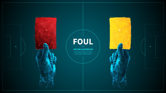 Soccer foul low poly wireframe vector banner template