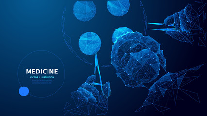 Medicine low poly wireframe vector banner template