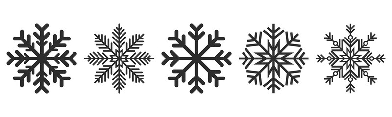 Snowflakes icons set. Vector drawing. Isolated object on a white background. Isolate. Wall mural