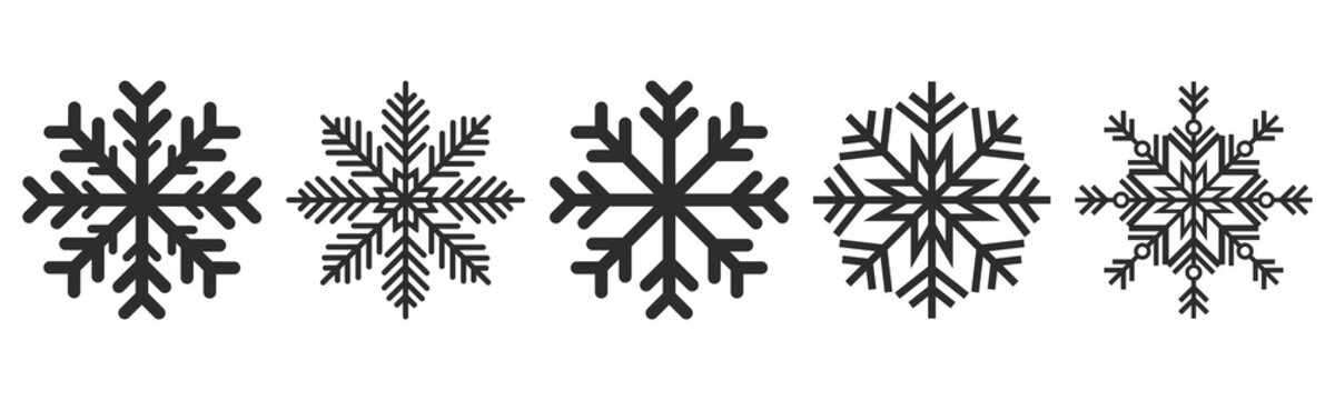 Snowflakes icons set. Vector drawing. Isolated object on a white background. Isolate.