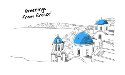 Fototapeta Santorini Greece hand drawn sketch obraz