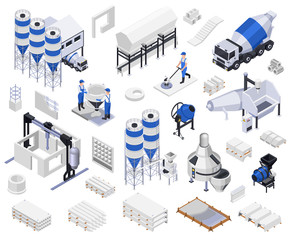 Cement Production Isometric Icons