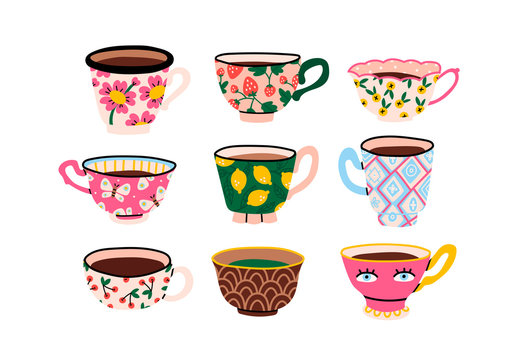 Set of various cups with tea or coffee. Side view. Different ornaments. Flowers, berries, etc Hand drawn colored trendy vector illustration. Cartoon style. Flat design. Isolated on a white background