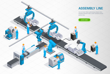 Industrial Manufacturing Isometric Composition