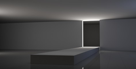 Empty fashion runway white color lighting and black wall.