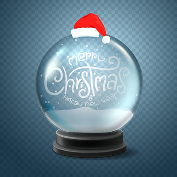 Christmas snow globe with Santa hat and lettering inscription. Merry Christmas and happy new year