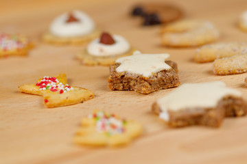 traditional homemade german christmas cookies on wooden board