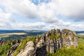 mountain schrammsteine at saxon switzerland, germany on a sunny summer day