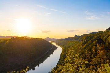 sunset at little bastei at river Elbe, Bad Schandau, Germany