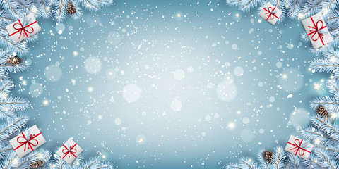 Fototapete - Creative frame made of Christmas snowy fir branches, gift boxes, snowflakes, light, stars on blue background. Merry Christmas and New Year card. Vector Illustration, Xmas holiday