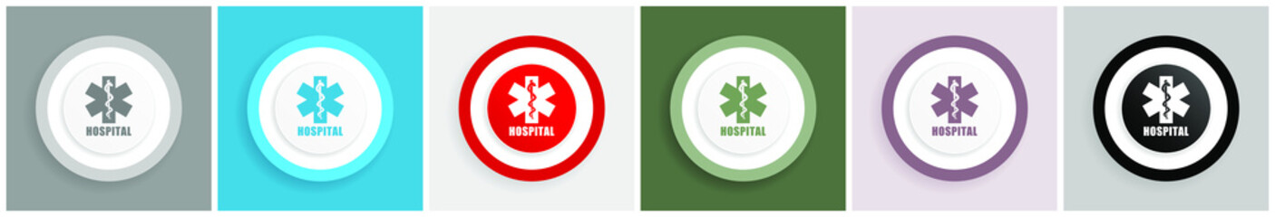 Hospital icon set, colorful flat design vector illustrations in 6 options for web design and mobile applications