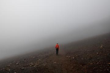Man Hiking Alone in Haleakala Crater, Maui