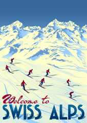 Winter Ski Sport Swiss Alps Travel Poster.