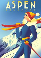 Ski Travel Poster of Aspen, Colorado, USA.