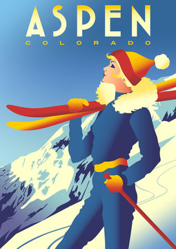 Ski Travel Poster of Aspen, Colorado, USA.