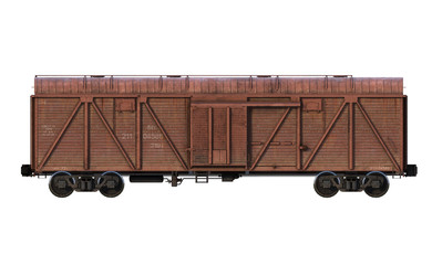 3d-renders of cargo railroad car (boxcar). Side view