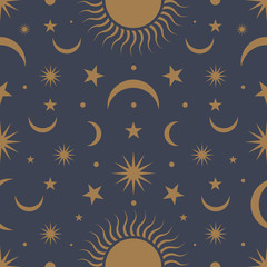 Moon, sun and stars, seamless ornamental pattern