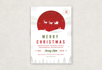 Christmas Party Flyer Layout with Flying Sleigh
