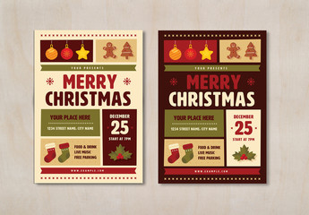 Christmas Party Flyer Layout with Graphic Elements
