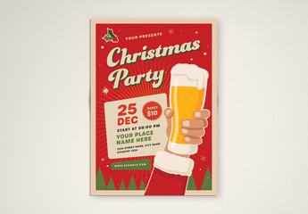 Christmas Party Flyer Layout with Beer Illustration