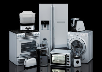 Set of kitchen and home appliances in silver color, 3D rendering