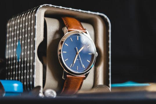 Wrist watch inside its box
