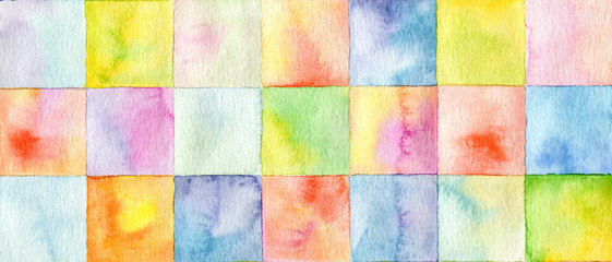 Abstract  square watercolor painted background Wall mural