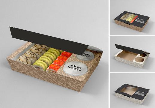 Medium Sized Paper Window Sushi Box Mockup