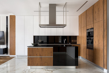 Stylish kitchen with wooden elements
