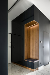 Home corridor with black wall