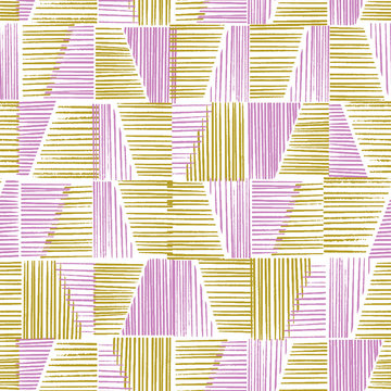Vector hatching hand drawn seamless pattern. Woodcut style repeat in yellow and lilac colorblock. Grunge texture.