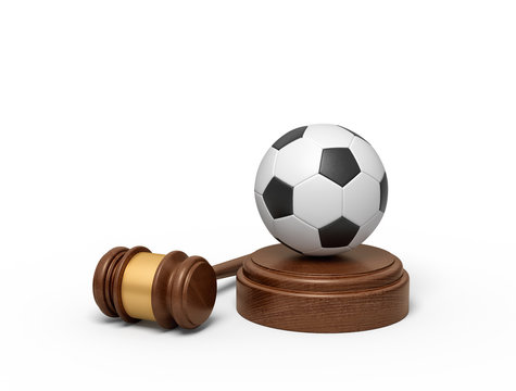 3d rendering of football on sounding block with judge gavel lying beside.