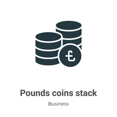 Pounds coins stack vector icon on white background. Flat vector pounds coins stack icon symbol sign from modern business collection for mobile concept and web apps design.