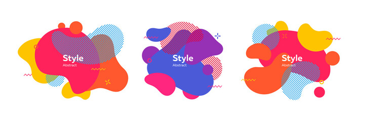 Set of fluid badges for app Wall mural