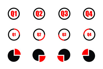 Quarterly icon set red and black showind first quarter second quarter third quarte and fourth quarter on three different designs isolated on white background Fotomurales