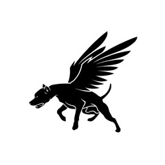 American Pit Bull Terrier dog with wings - isolated vector illustration