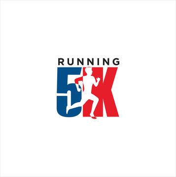 5K Run Logo Design vector Stock symbol . Running logo sport concept  .  running marathon Logo Design Template .