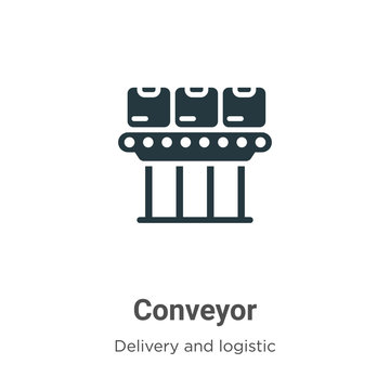 Conveyor vector icon on white background. Flat vector conveyor icon symbol sign from modern delivery and logistic collection for mobile concept and web apps design.