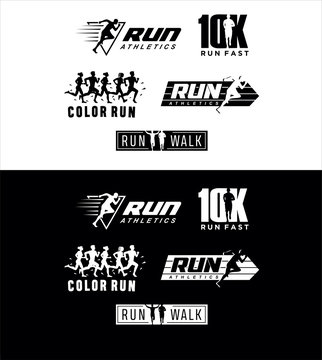 Set Of Run Logo silhouette Design vector Stock symbol .Running logo sport concept  .  running marathon Logo Design Template .