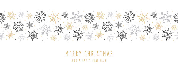 Tuinposter Kunstmatig Christmas snowflakes elements ornaments seamless banner greeting card on white background