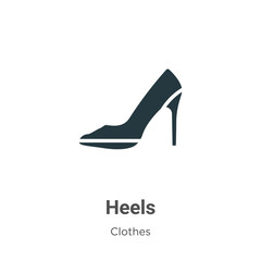 Heels vector icon on white background. Flat vector heels icon symbol sign from modern clothes collection for mobile concept and web apps design.