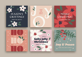 Colorful Christmas Social Media Layout Set